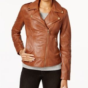 Guess Asymmetrical Leather Moto Jacket in Cognac